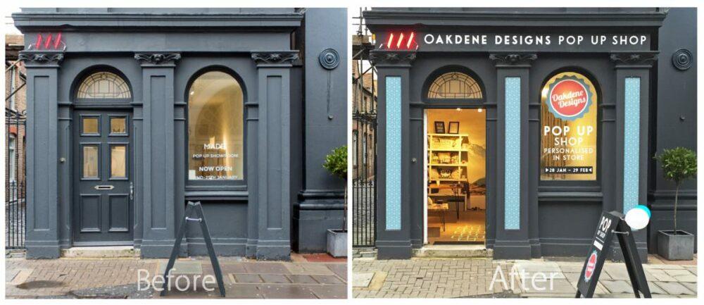 Oakdene Designs Pop Up Shop South East Signage